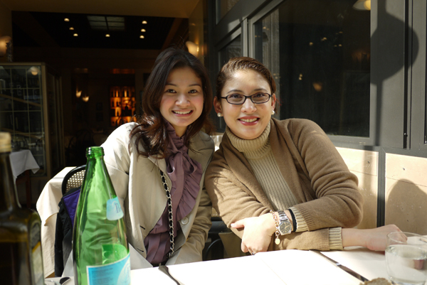 Zarah and Rea at a Trattoria while doing their research in Milan