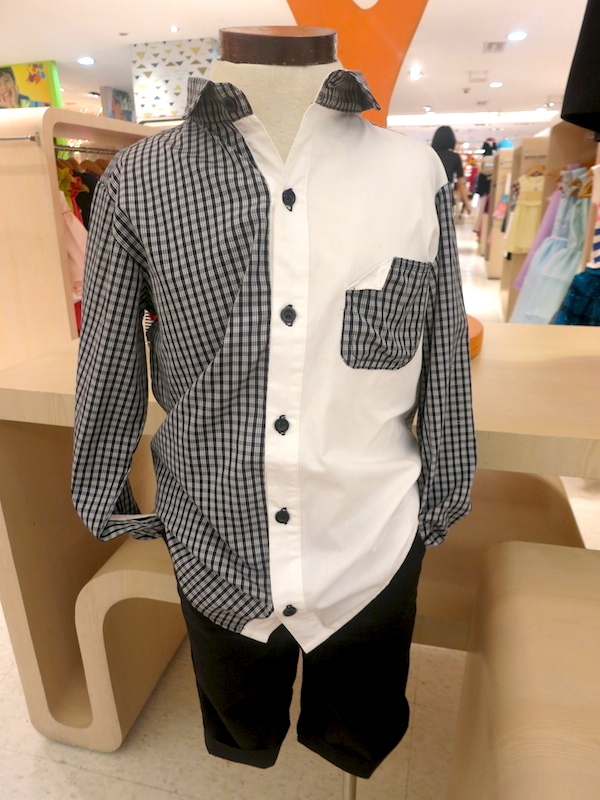 Rustan's Jr. Longsleeved Black and White Checkered Polo