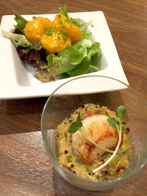 TSM Nobu Sunday Brunch Rock Shrimp Temura and Grilled Scallops