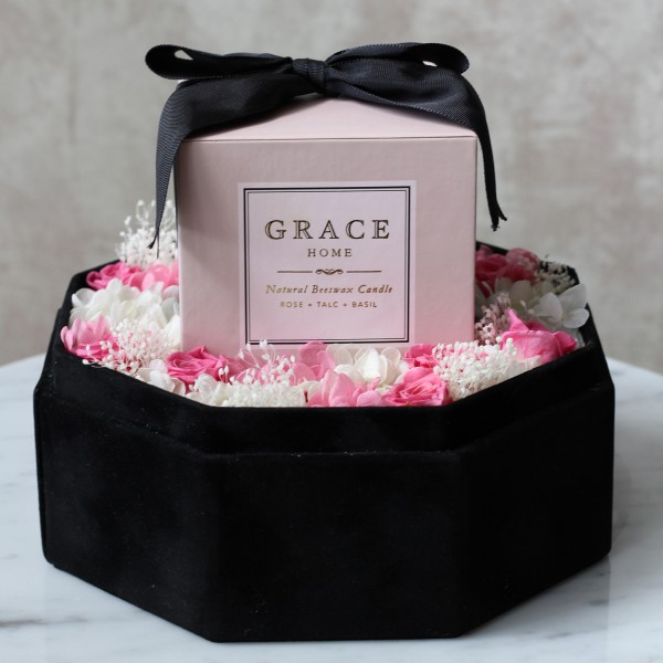 Grace Home x Te Amo Rose Talc Bail Candle Preserved Flower Box