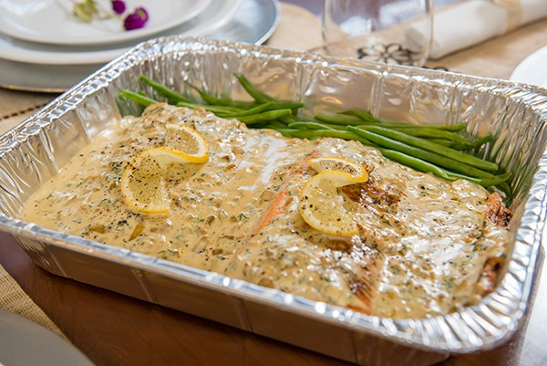 TSM Seared Salmon in White Wine Sauce