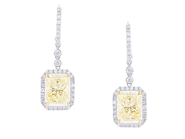 TSM radiant-cut champagne diamond drop earrings