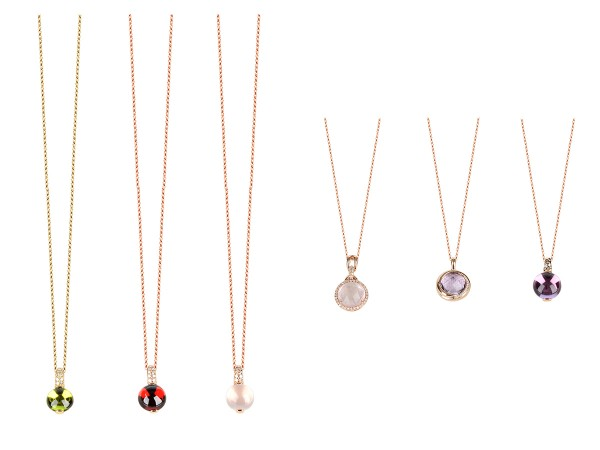 TSM F&C Multi-colored gemstones and diamond necklaces in 14 karat gold