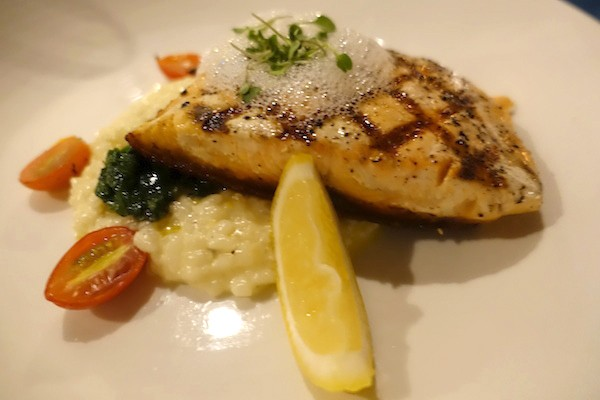 Chargrilled Norwegian King Salmon, with citrus glaze, sauteed spinach, and preserved lemon risotto